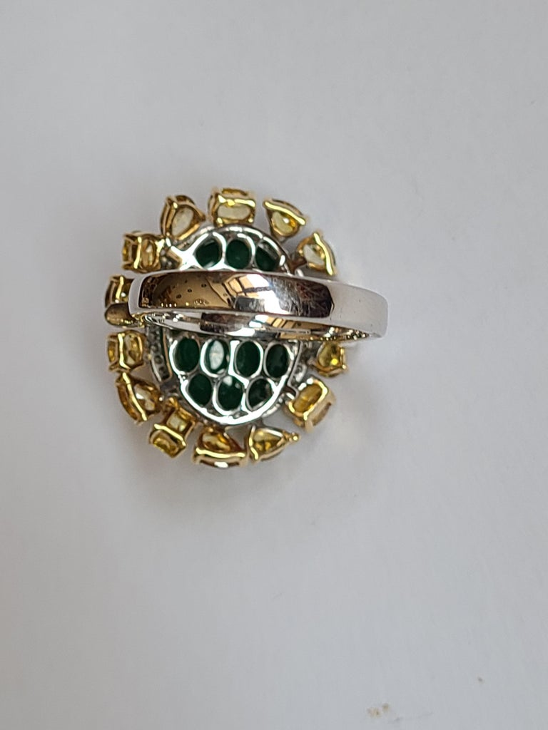 Emerald Cut Natural Emerald 10.20 Carat Ring Set in 18 Karat Gold with Fancy Color Diamond For Sale
