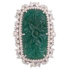 Natural Emerald 38.62 Carat Set in 18 Karat Gold with Diamonds