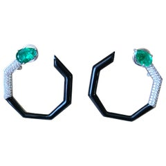 Natural Emerald and Black Enamel Earrings Set in 18 Karat Gold with Diamonds