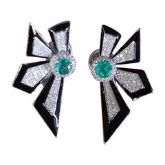 Natural Emerald and Black Enamel Studs Set in 18 Karat Gold with Diamonds