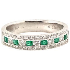 Natural Emerald and Diamond Channel Band