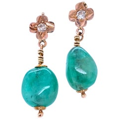 Natural Emerald and Diamond Drop Earrings