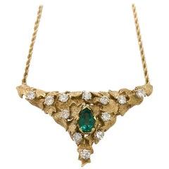 Natural Emerald and Diamond Florentine Triangular Necklace 1.10 Carat 14 Karat