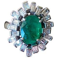 Natural Emerald and Diamond Ring Set in 18 Karat Gold