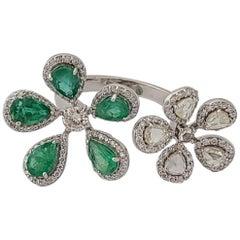 Natural Emerald and Diamond Rose-Cut Ring Set in 18 Karat Gold