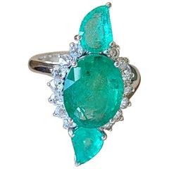 Natural Emerald and Diamond Rose Cut Ring Set in 18 Karat Gold