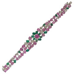 Natural Emerald and Pink Sapphire Bracelet with Diamonds
