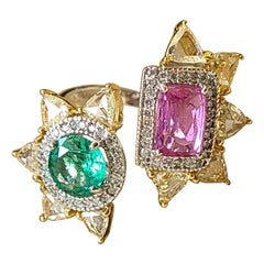 Natural Emerald and Pink Sapphire Ring Set in 18 Karat Gold with Rosecut Diamond