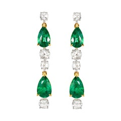 Natural Emerald and Rose Cut Diamond Drop Earrings in 18ct Yellow and White Gold