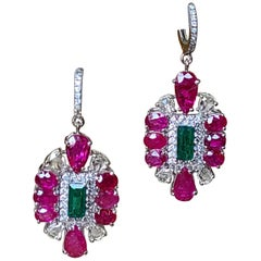 Natural Emerald and Ruby Earrings/Studs with Diamonds in 18 Karat Gold