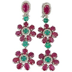 Natural Emerald and Ruby Long Earrings in 18 Karat Gold with Diamonds