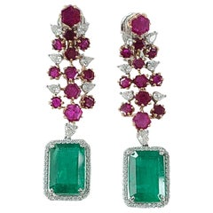 Natural Emerald and Un-Heat Ruby Earrings Set in 18 Karat Gold