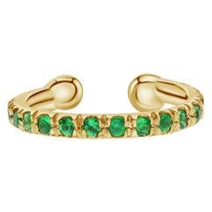 Natural Emerald Birthstone Helix Cuff Earring in 14K Yellow Gold, Shlomit Rogel