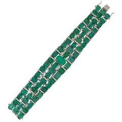 Natural Emerald Bracelet Set in 18 Karat Gold with Natural Diamonds