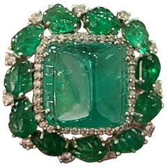 Natural Emerald Cabochon and Leaves Ring Set in 18 Karat Gold with Diamonds