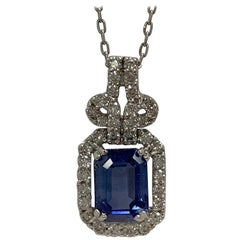 Natural Emerald Cut Sapphire and Diamonds Pendants