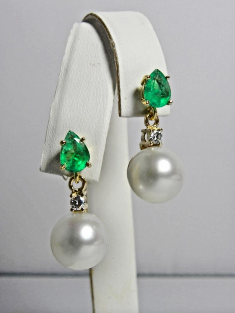 Pear Cut Natural Emerald Diamond and South Sea White Pearl Dangle Earrings 18 Karat For Sale