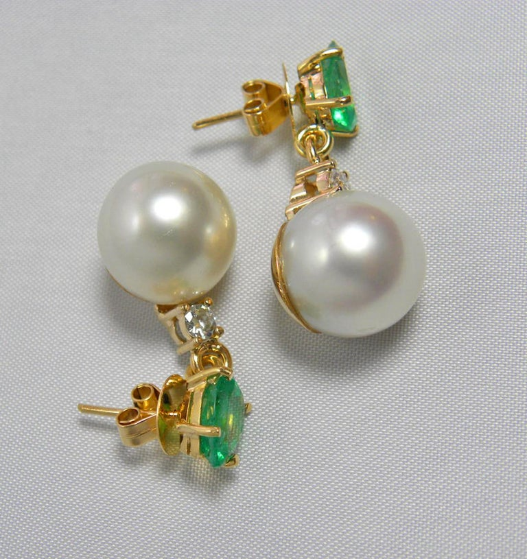 Women's Natural Emerald Diamond and South Sea White Pearl Dangle Earrings 18 Karat For Sale