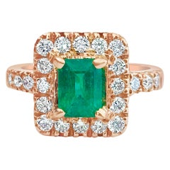 Natural Emerald Diamond Cocktail Engagement Ring Rose Gold