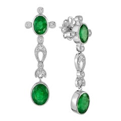 Natural Emerald Diamond Earrings