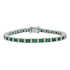 Natural Emerald Diamond Platinum Bracelet