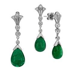 Natural Emerald Diamond Set Pendant and Drop Earrings