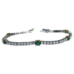 Natural Emerald Diamond Tennis Bracelet 14kt White Gold 🥇