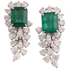 Natural Emerald Earrings Set in 18 Karat Gold with Diamonds
