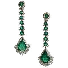 Natural Emerald Long Earrings Set in 18 Karat Gold with Diamonds