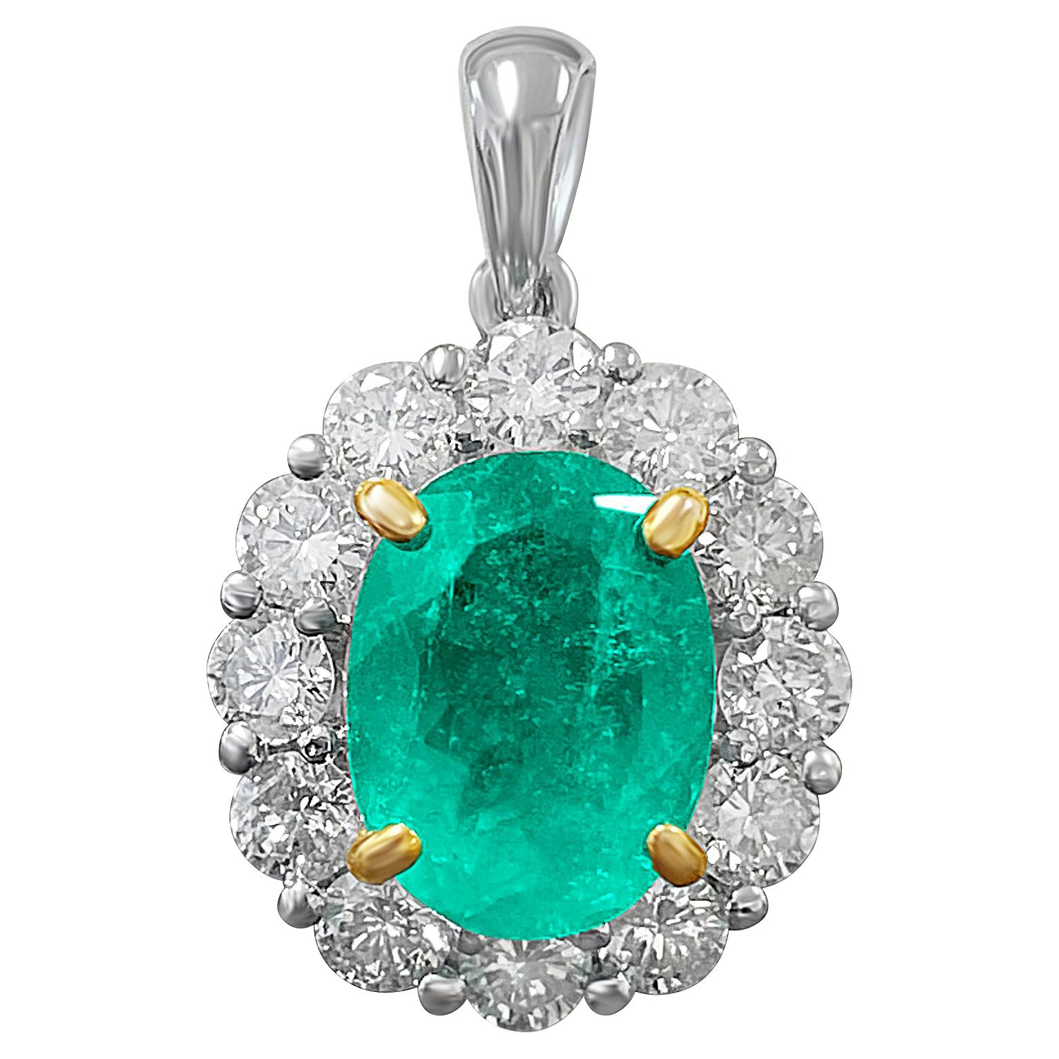 Natural Emerald Pendant and Diamond Halo in 18k Solid White Gold