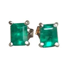 Natural Emerald Stud Earrings 18 Karat White Gold