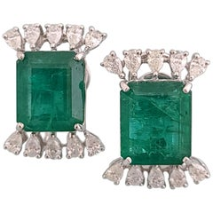 Natural Emerald Studs in 18 Karat Gold with Pear Cut Diamonds
