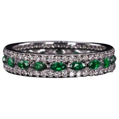 Natural Emerald White Diamond Band Ring