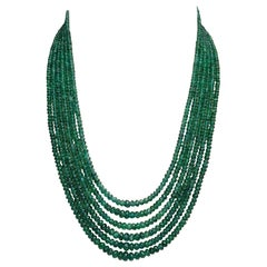 Natural Faceted 302 Carat Emerald Bead 6-Strand Necklace with Diamond Clasp