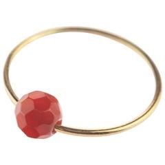 Natural Faceted Garnet Rondelle Solitaire 18 Karat Gold Planet Mars Boho Ring