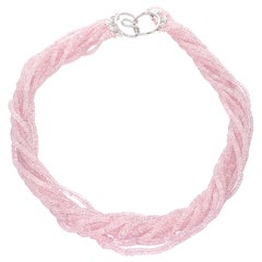 Natural Faceted Pastel Pink Sapphire Faceted Beads Choker Necklace, 18K White