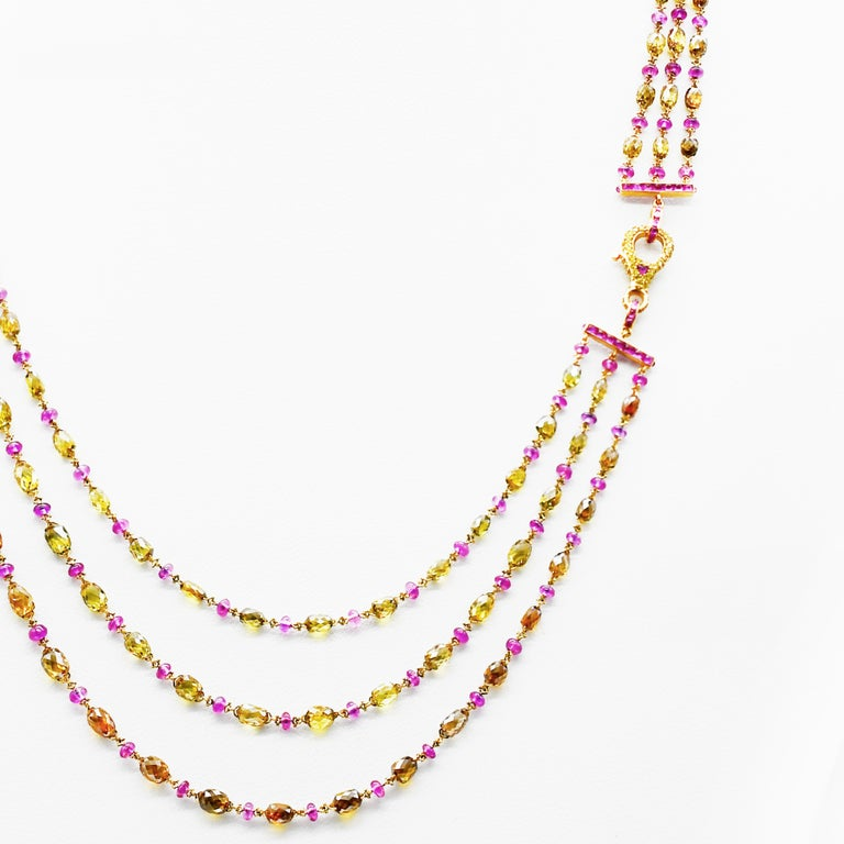 Natural Fancy Color Briolette Diamond and Burma No Heat Ruby Chain Necklace In New Condition For Sale In Hong Kong, HK
