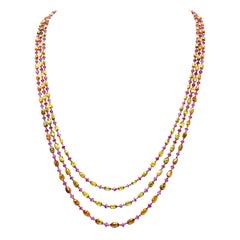 Natural Fancy Color Briolette Diamond and Burma No Heat Ruby Chain Necklace