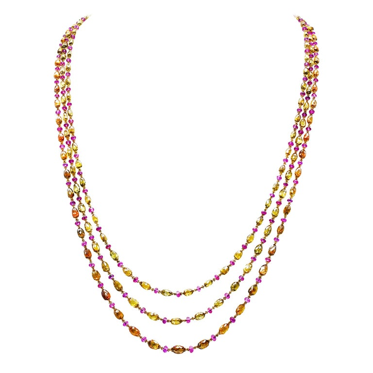 Natural Fancy Color Briolette Diamond and Burma No Heat Ruby Chain Necklace For Sale