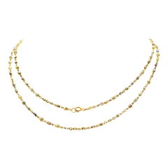 Natural Fancy Color Briolette Diamond Necklace Chain Set in 18 Karat Gold