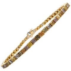 Natural Fancy Color Diamond 18 Karat Gold Rainbow Tennis Link Bracelet