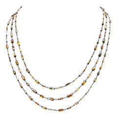 Natural Fancy Color Diamond Briolettes Chain Necklace in 18 Karat Gold