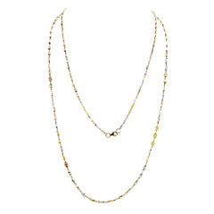 Natural Fancy Color Diamond Chain Necklace in 18 Karat Gold