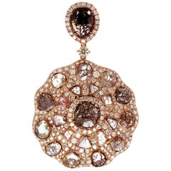 Natural Fancy Color Diamond in Rose Gold Necklace