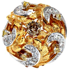 Natural Fancy Color Diamonds Raised Dome Florentine Ring 14 Karat