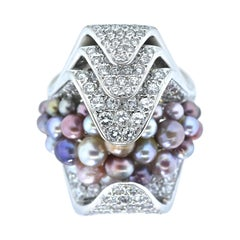 Natural Fancy Color Pearls and Fine White Diamond Ring