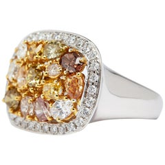 Natural Fancy Colored and White Diamond Ring