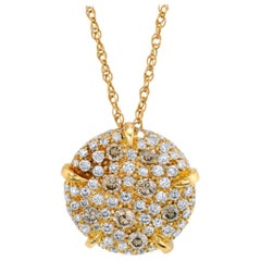 Fancy Champagne Diamond Pave Circle & 18k Yellow Gold Pendant Chain Necklace