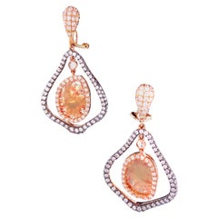 Natural Fancy Colored Diamond and White Diamond Yellow Gold Earrings