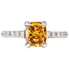 Natural Fancy Deep Orange-Yellow GIA Diamond 18 Karat Engagement Ring
